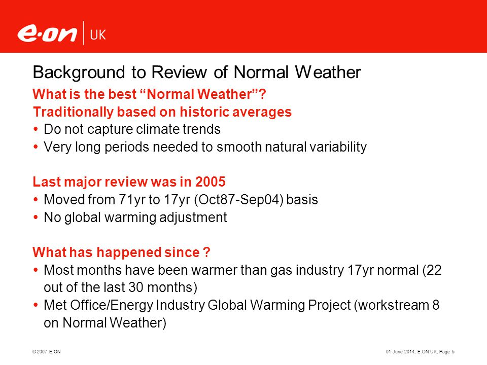 Background to Review of Normal Weather