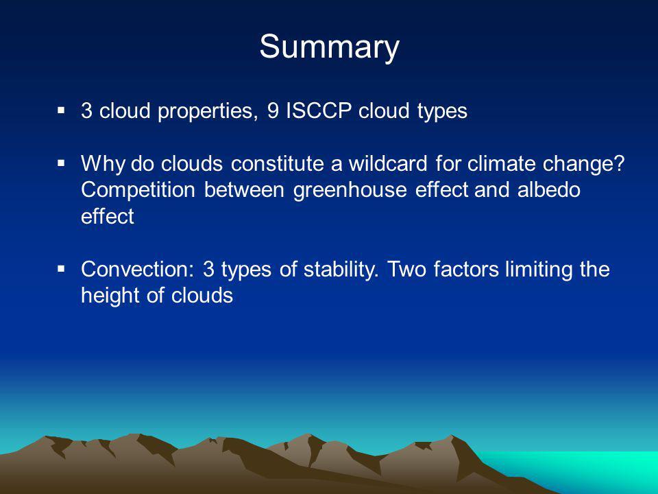 Summary 3 cloud properties, 9 ISCCP cloud types