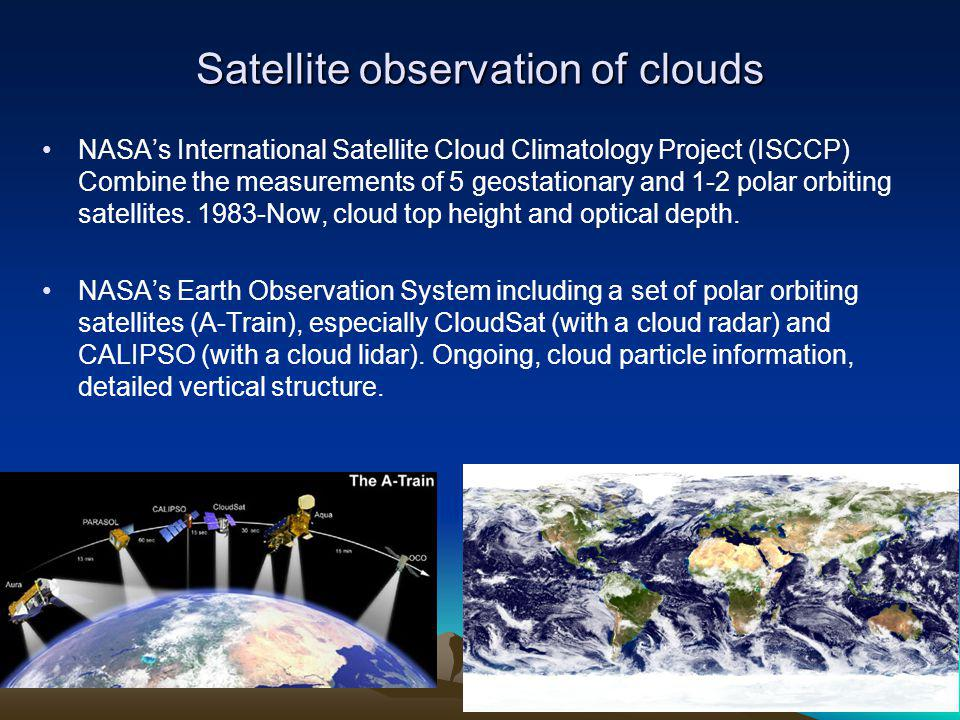 Satellite observation of clouds