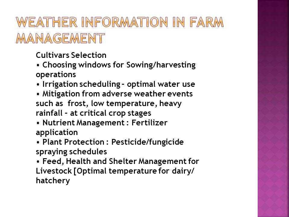 WEATHER INFORMATION IN FARM MANAGEMENT