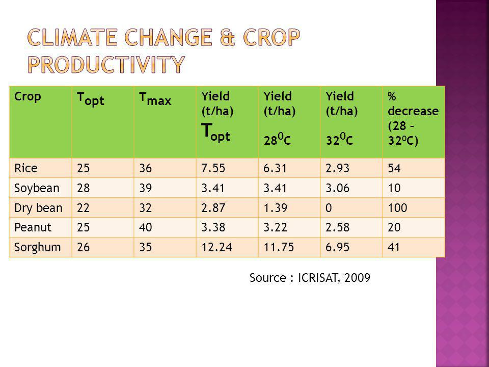 Climate change & crop productivity