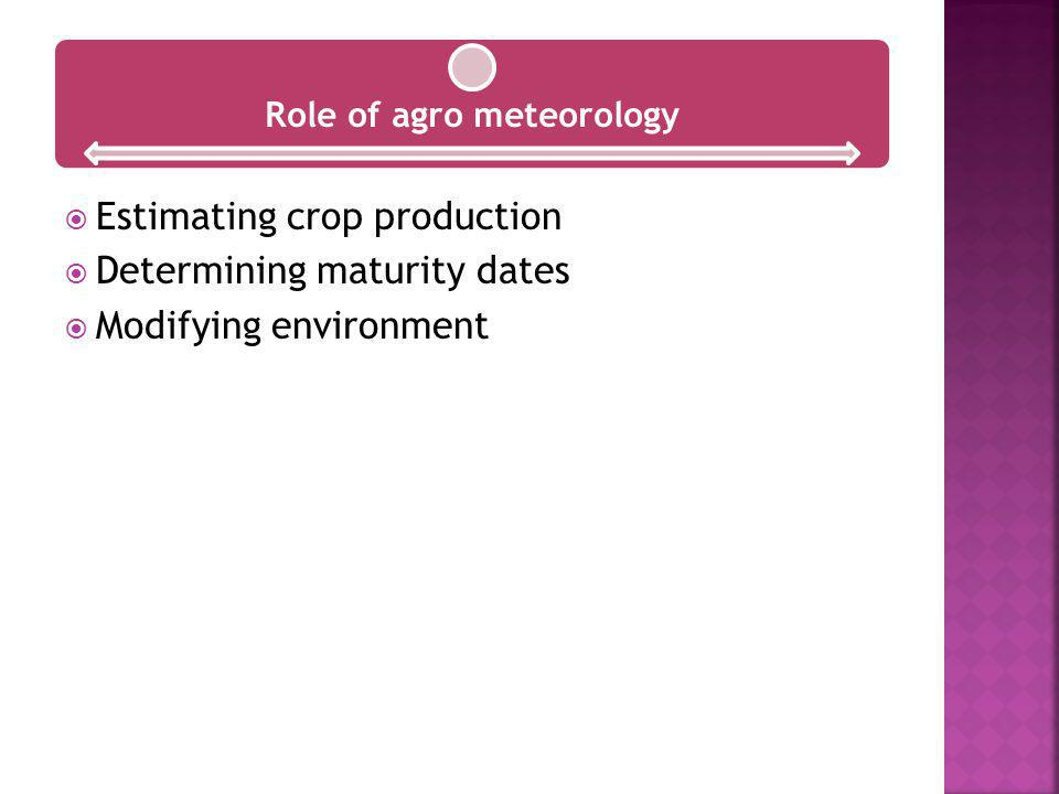 Role of agro meteorology