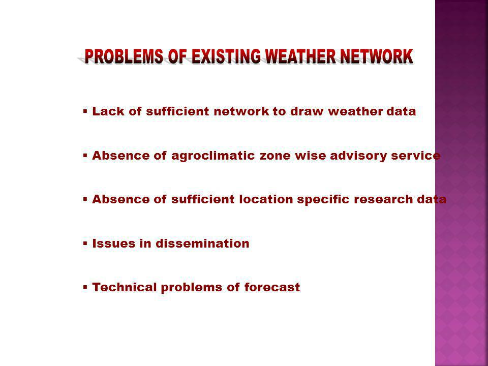 PROBLEMS OF EXISTING WEATHER NETWORK