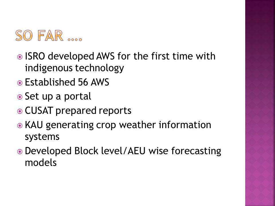 So Far …. ISRO developed AWS for the first time with indigenous technology. Established 56 AWS. Set up a portal.