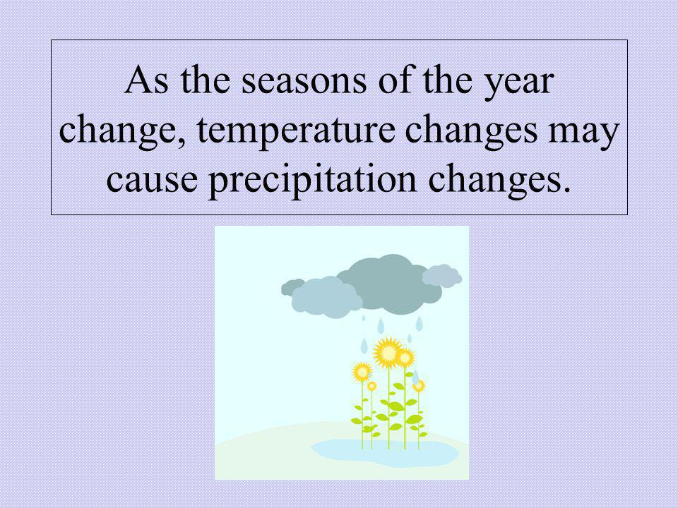 As the seasons of the year change, temperature changes may cause precipitation changes.