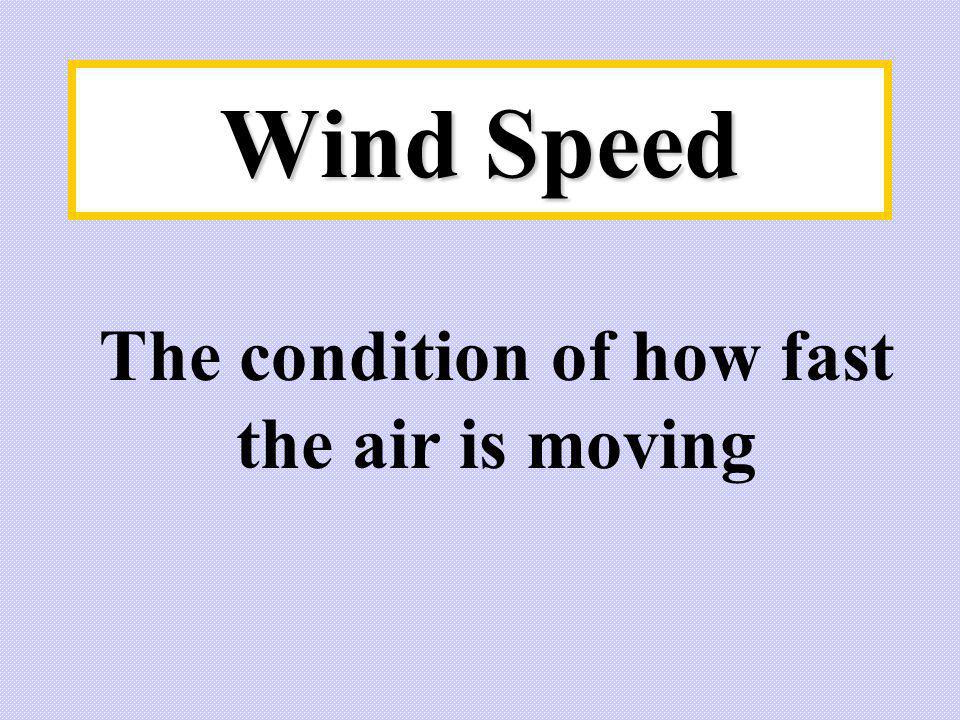 The condition of how fast the air is moving