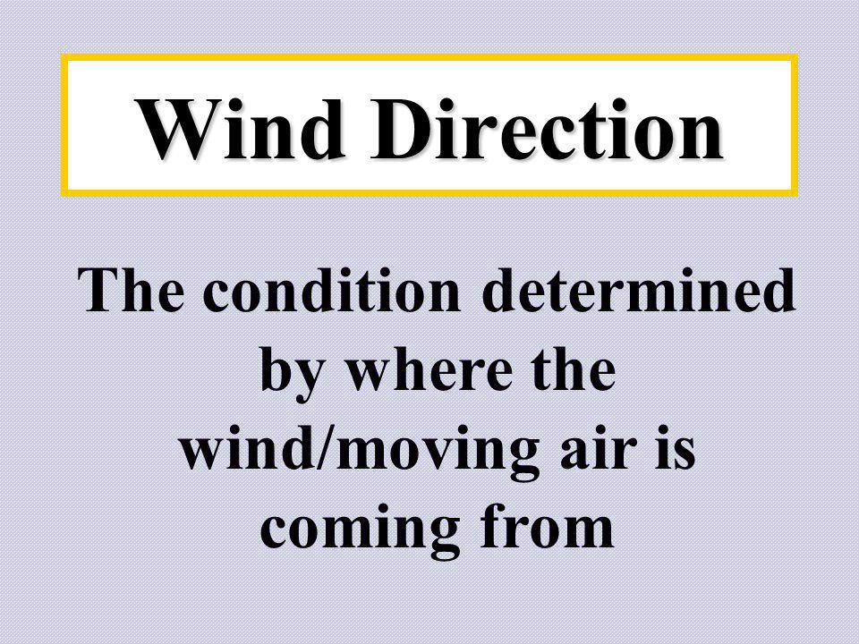 The condition determined by where the wind/moving air is coming from