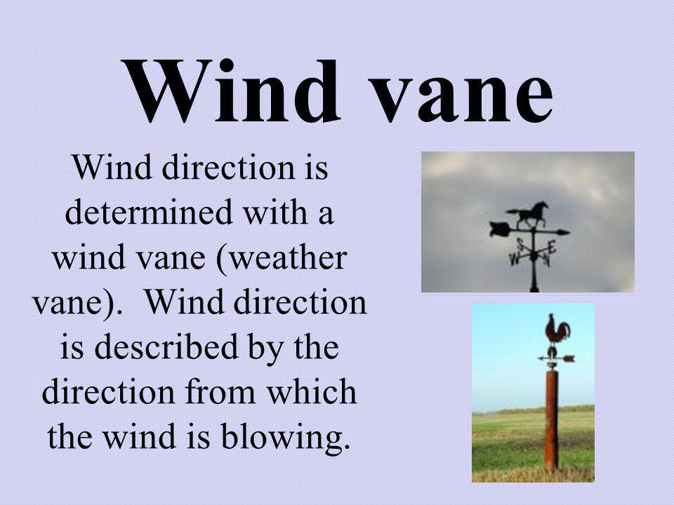Wind vane Wind direction is determined with a wind vane (weather vane).