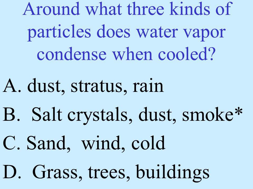B. Salt crystals, dust, smoke* C. Sand, wind, cold