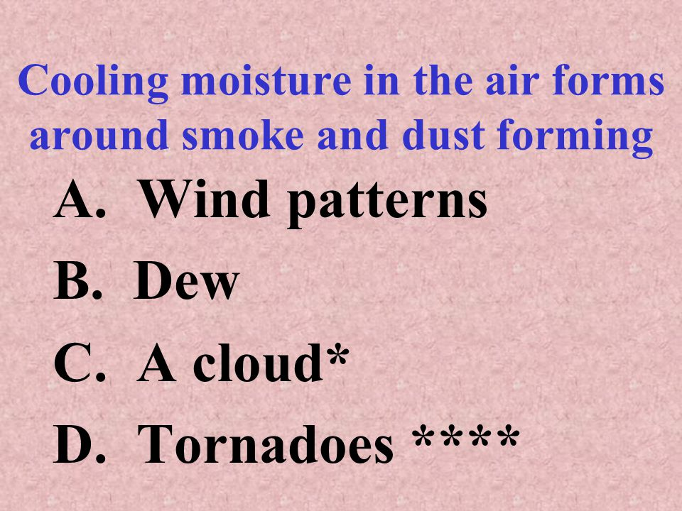 Cooling moisture in the air forms around smoke and dust forming