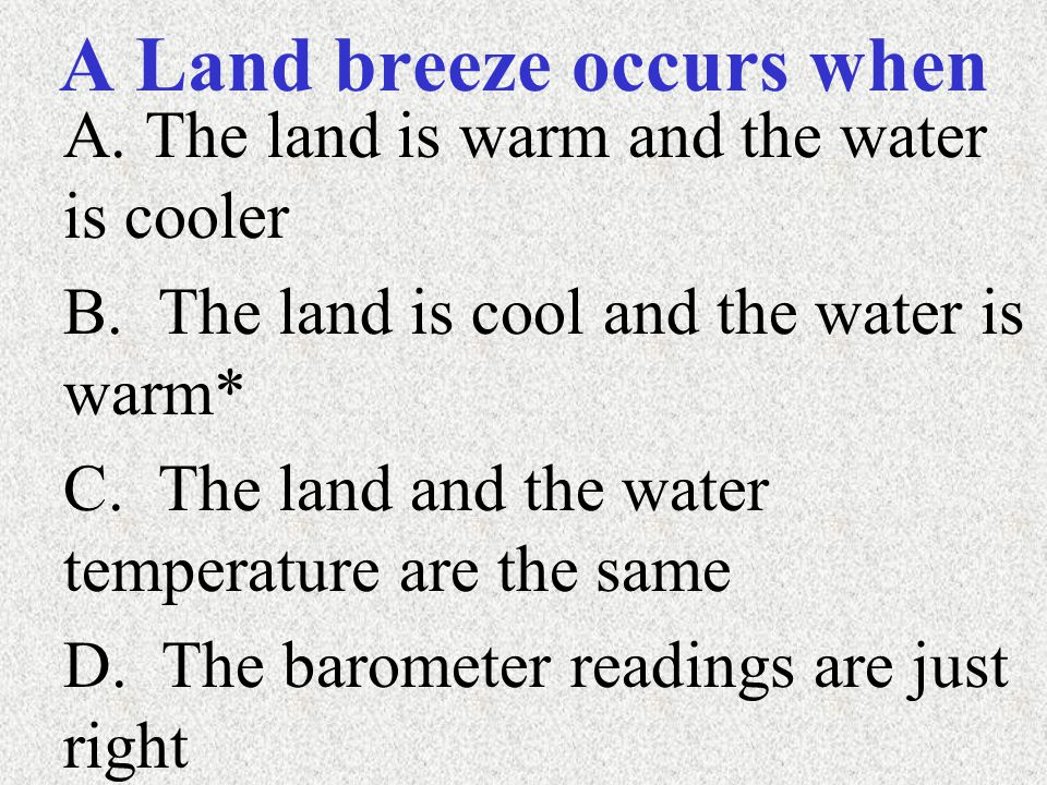 A Land breeze occurs when