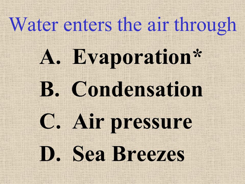 Water enters the air through