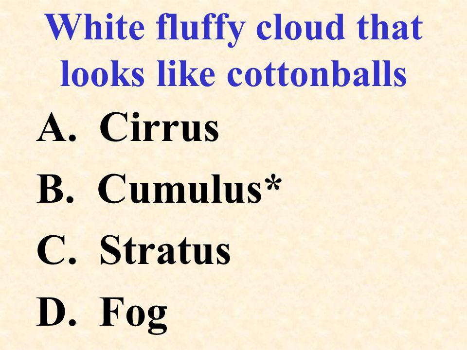 White fluffy cloud that looks like cottonballs