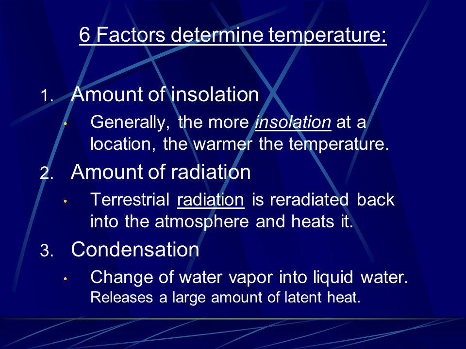 6 Factors determine temperature: