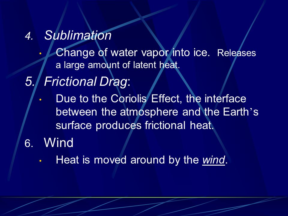 Sublimation 5. Frictional Drag: Wind