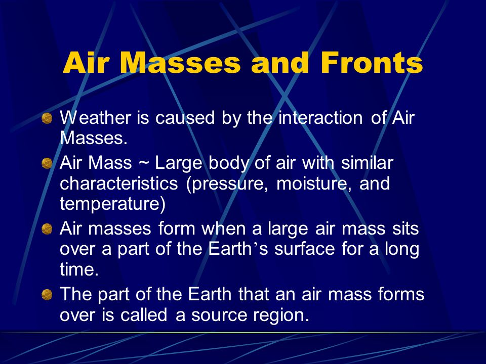 Air Masses and Fronts Weather is caused by the interaction of Air Masses.