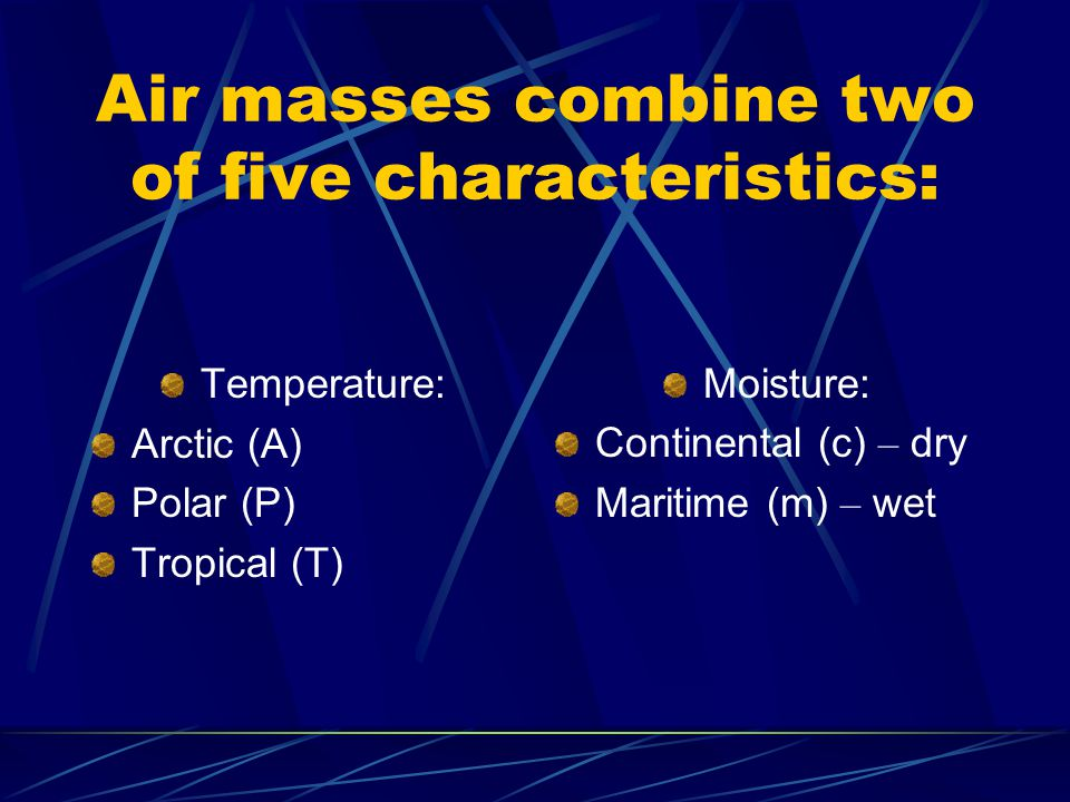 Air masses combine two of five characteristics: