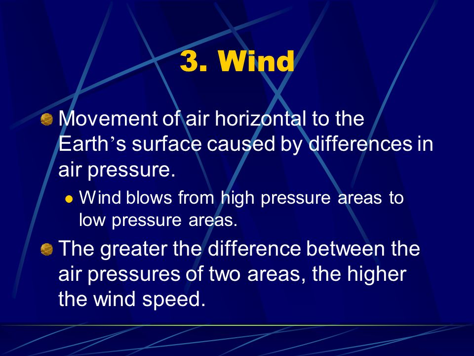 3. Wind Movement of air horizontal to the Earth's surface caused by differences in air pressure.
