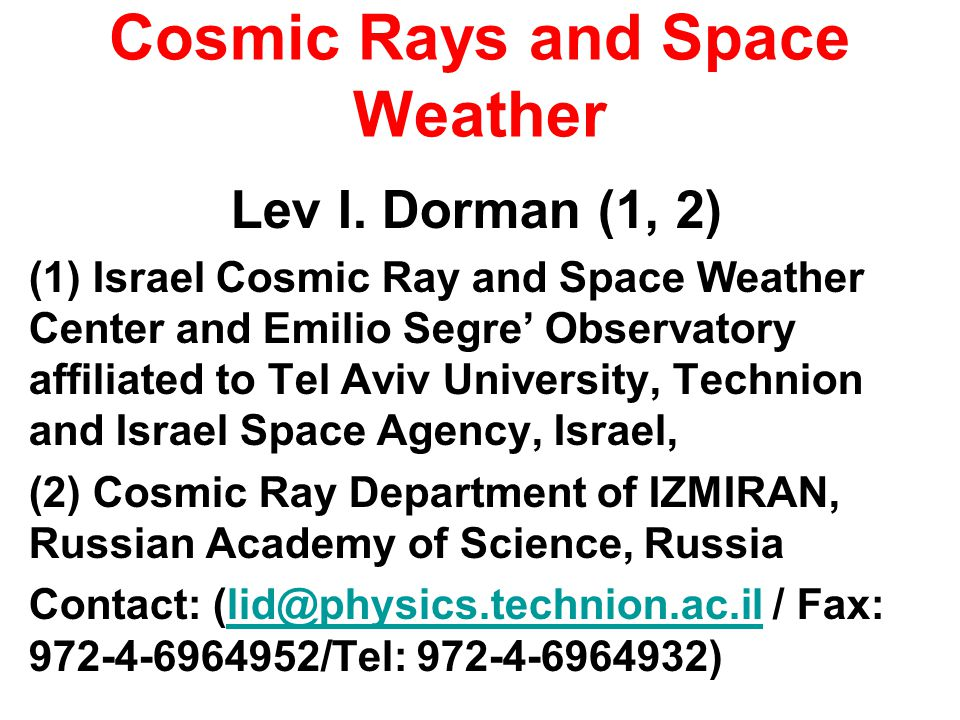 Cosmic Rays and Space Weather