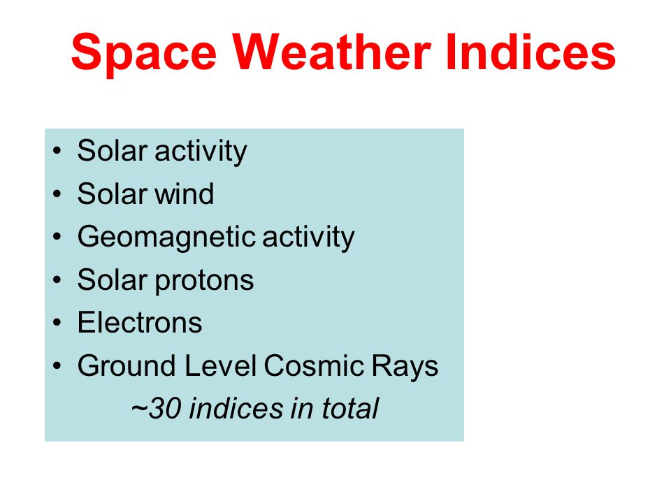 Space Weather Indices Solar activity Solar wind Geomagnetic activity