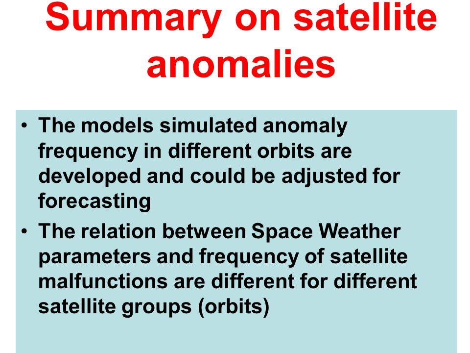 Summary on satellite anomalies