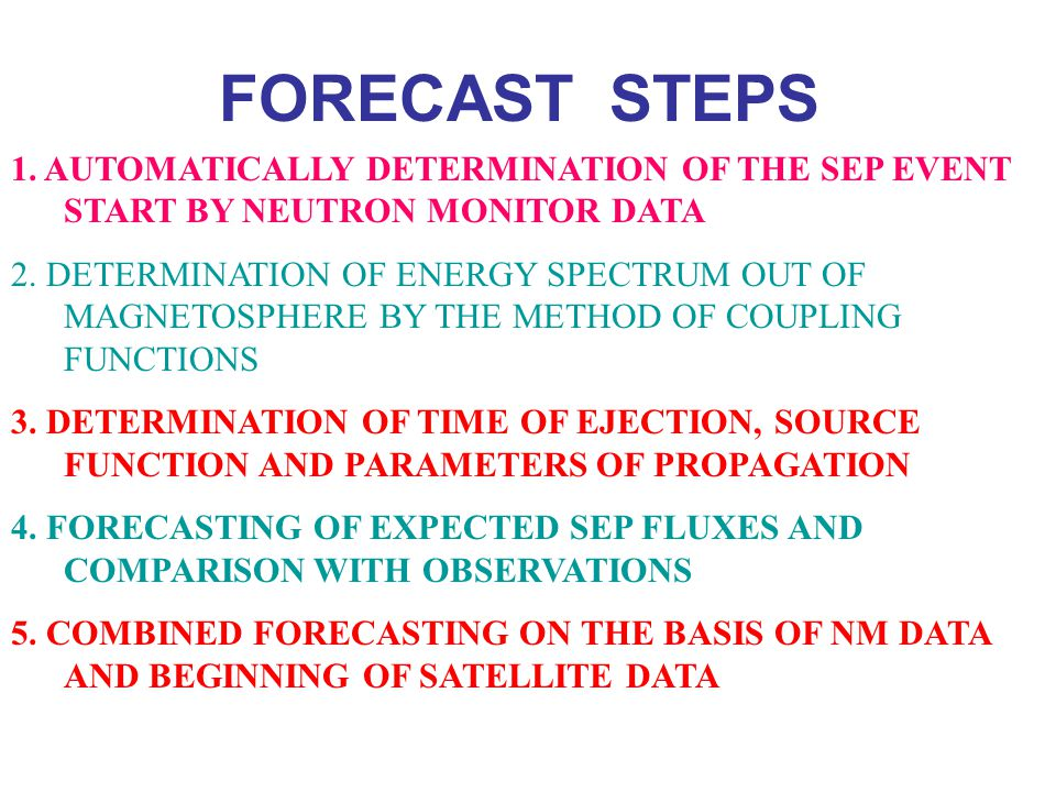 FORECAST STEPS 1. AUTOMATICALLY DETERMINATION OF THE SEP EVENT START BY NEUTRON MONITOR DATA.