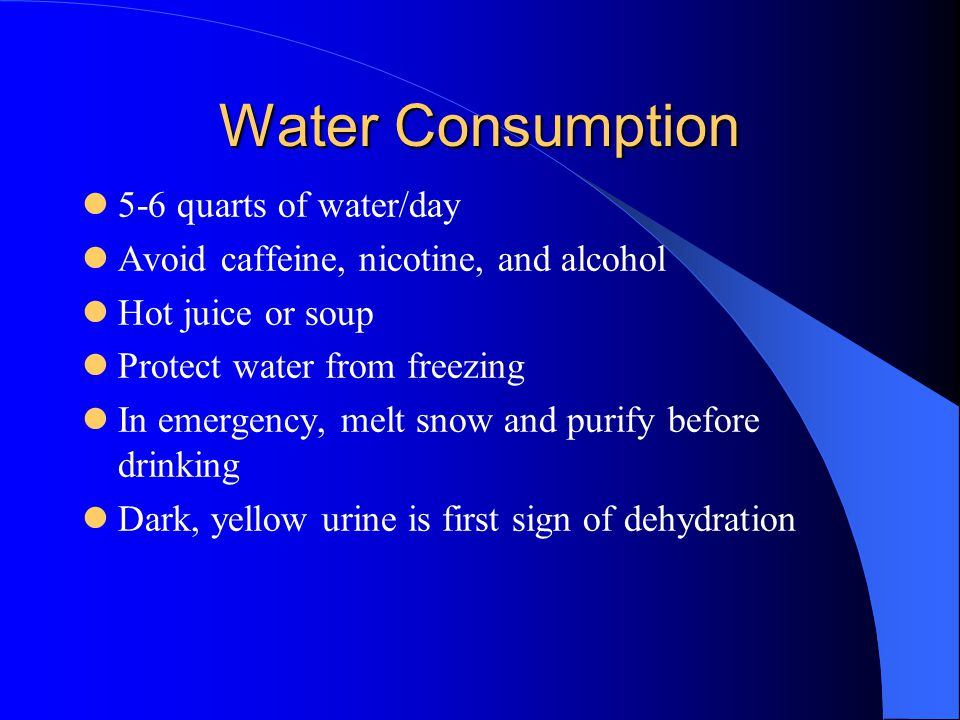 Water Consumption 5-6 quarts of water/day
