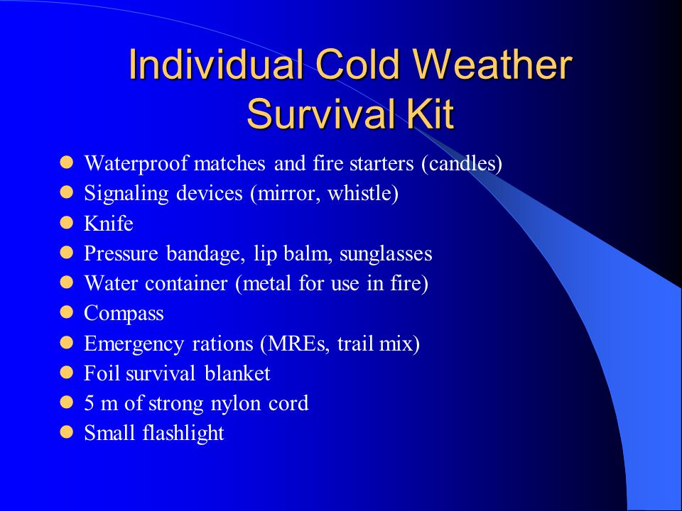 Individual Cold Weather Survival Kit