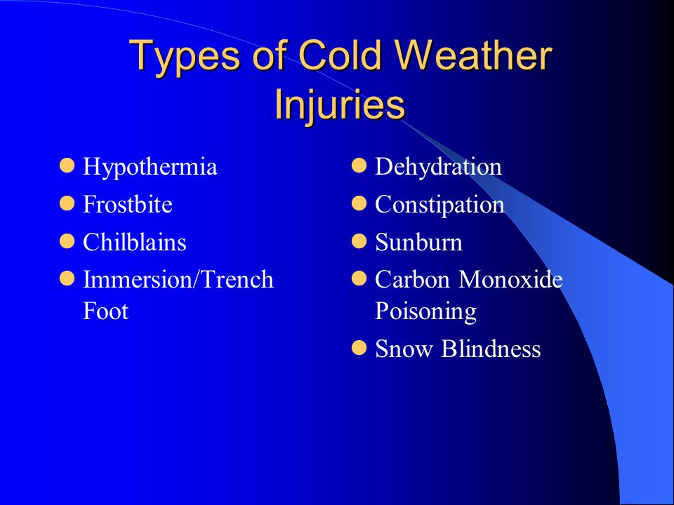 Types of Cold Weather Injuries