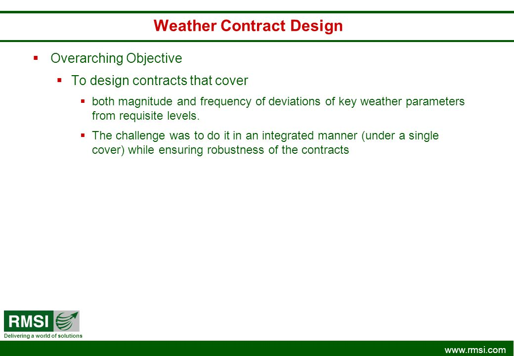 Weather Contract Design