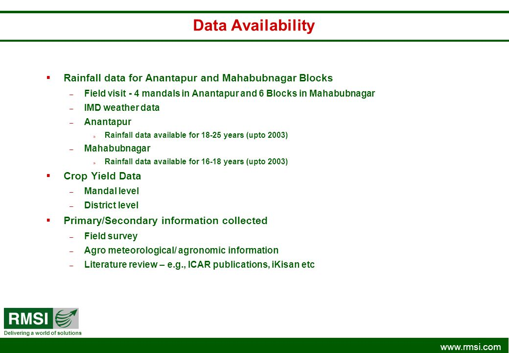 Data Availability Rainfall data for Anantapur and Mahabubnagar Blocks