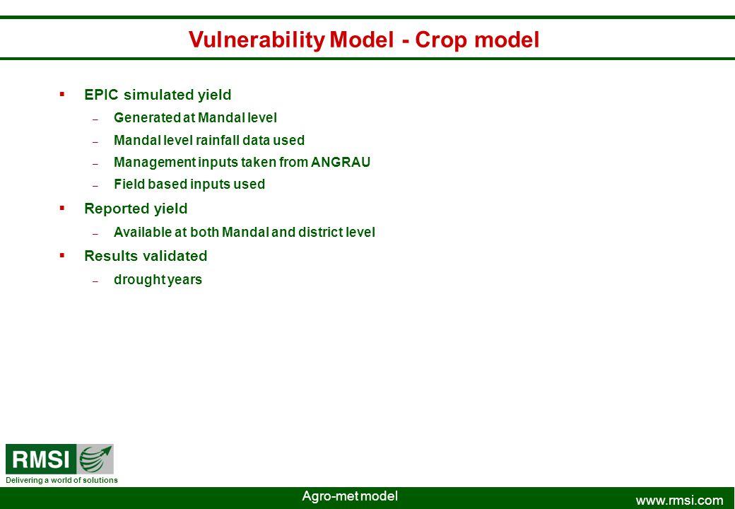 Vulnerability Model - Crop model