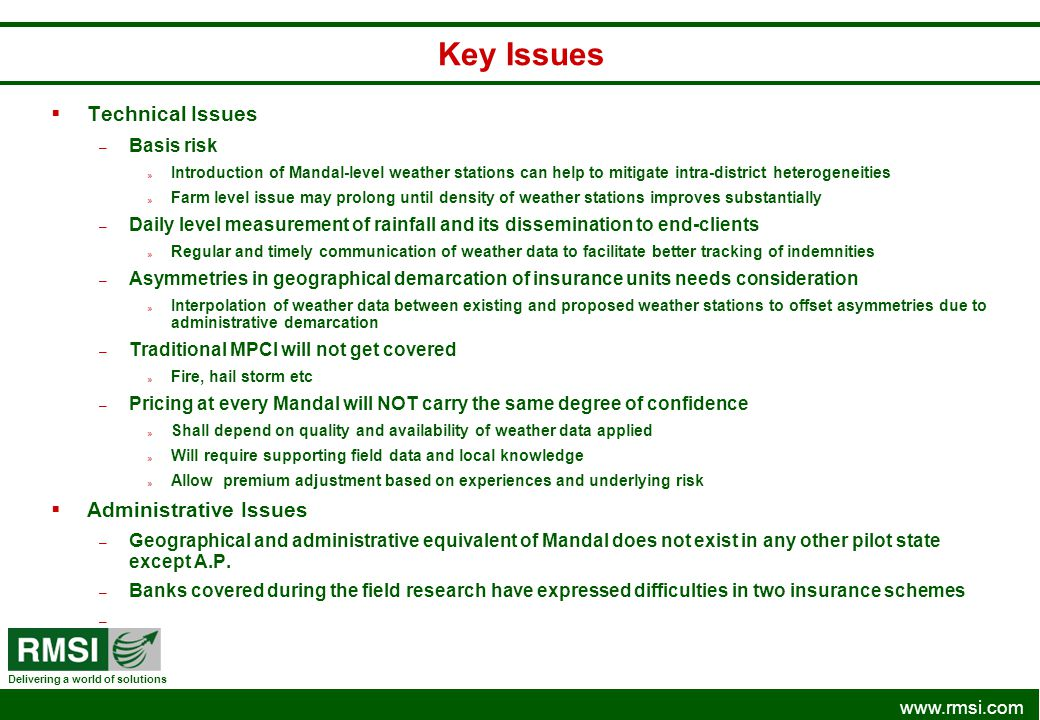 Key Issues Technical Issues Administrative Issues Basis risk