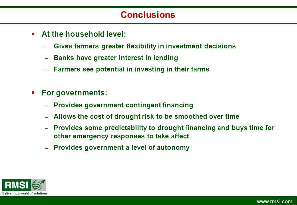 Conclusions At the household level: For governments:
