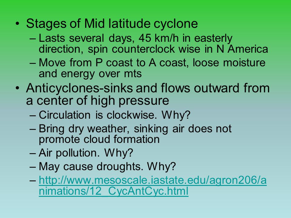 Stages of Mid latitude cyclone