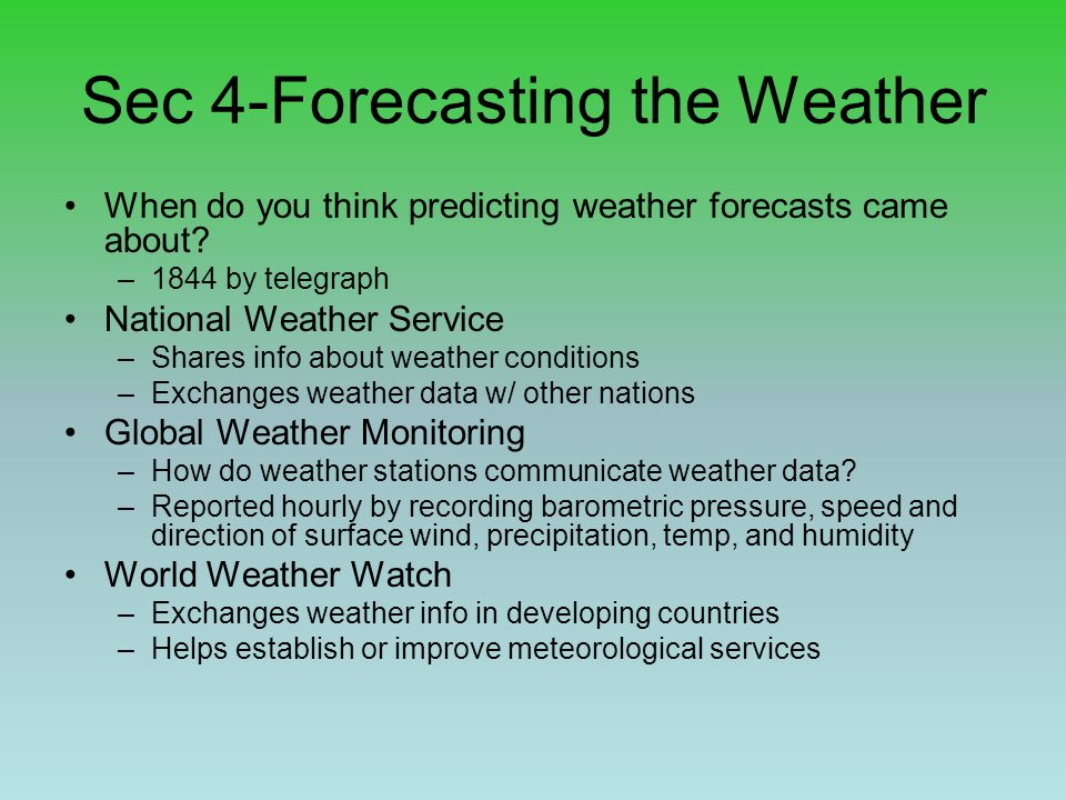 Sec 4-Forecasting the Weather