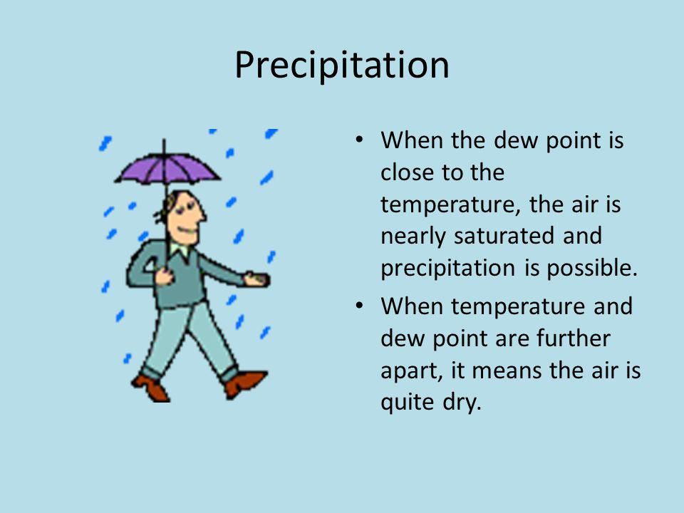 Precipitation When the dew point is close to the temperature, the air is nearly saturated and precipitation is possible.
