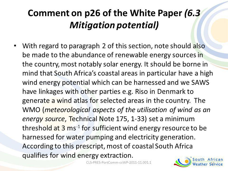 Comment on p26 of the White Paper (6.3 Mitigation potential)