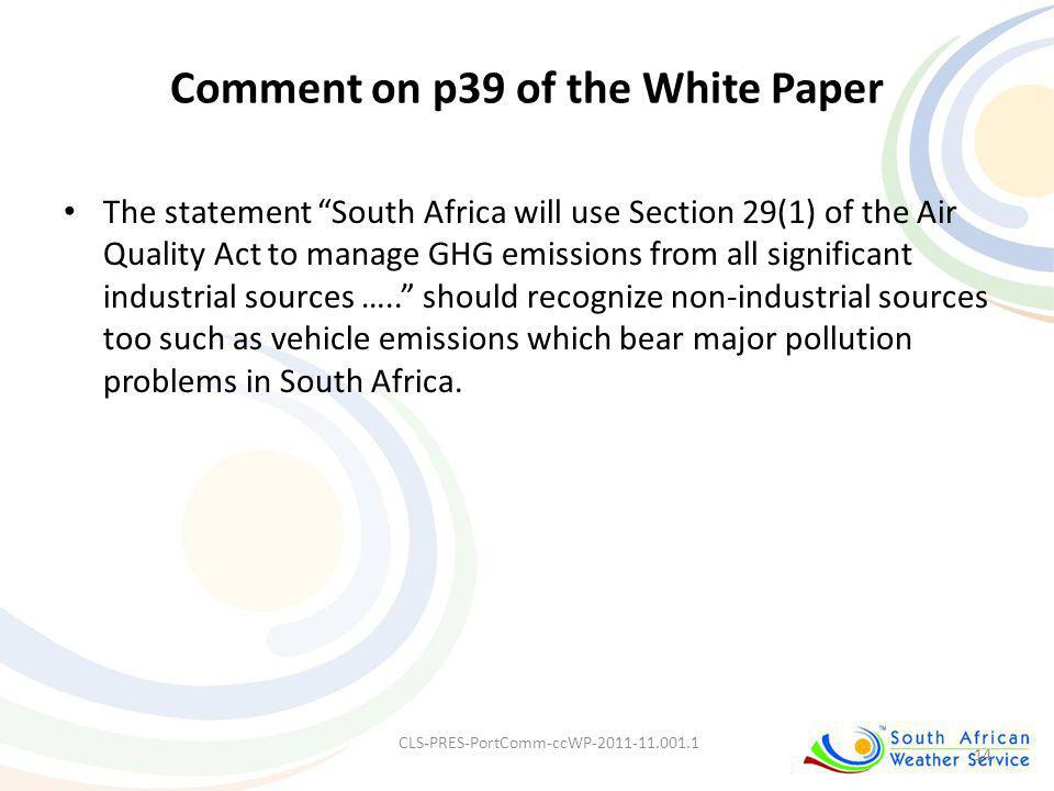 Comment on p39 of the White Paper
