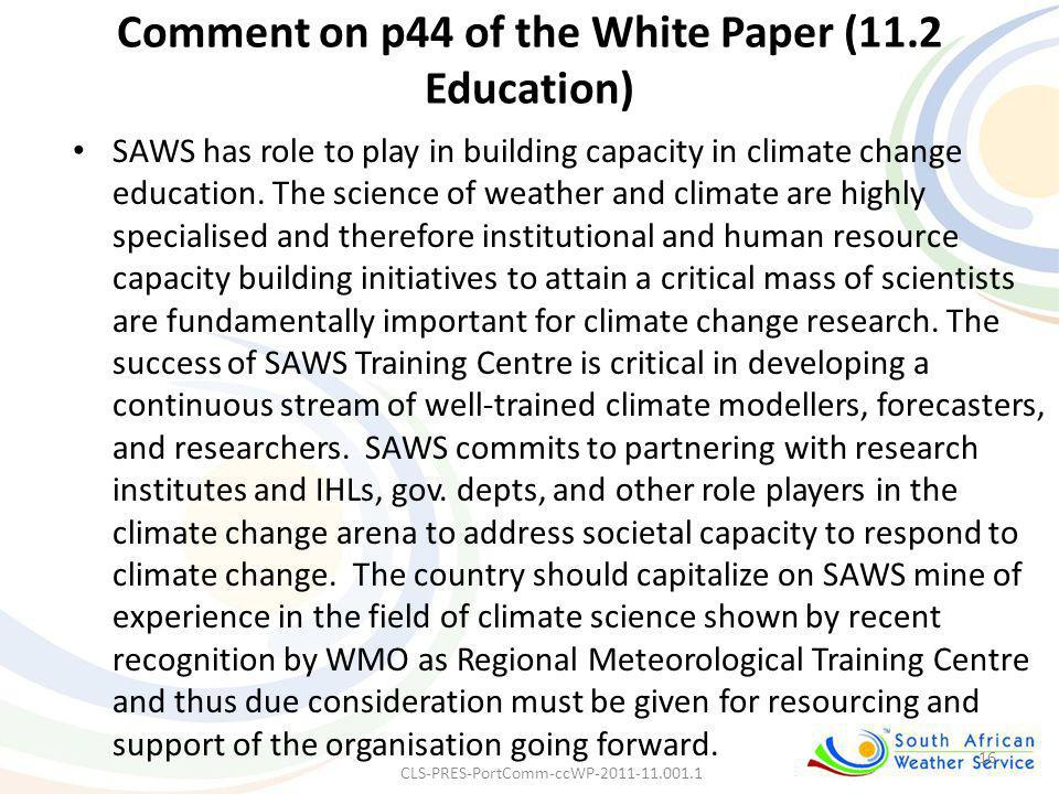 Comment on p44 of the White Paper (11.2 Education)