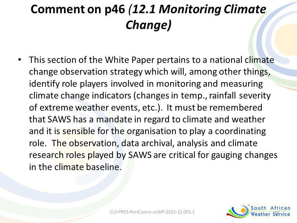Comment on p46 (12.1 Monitoring Climate Change)