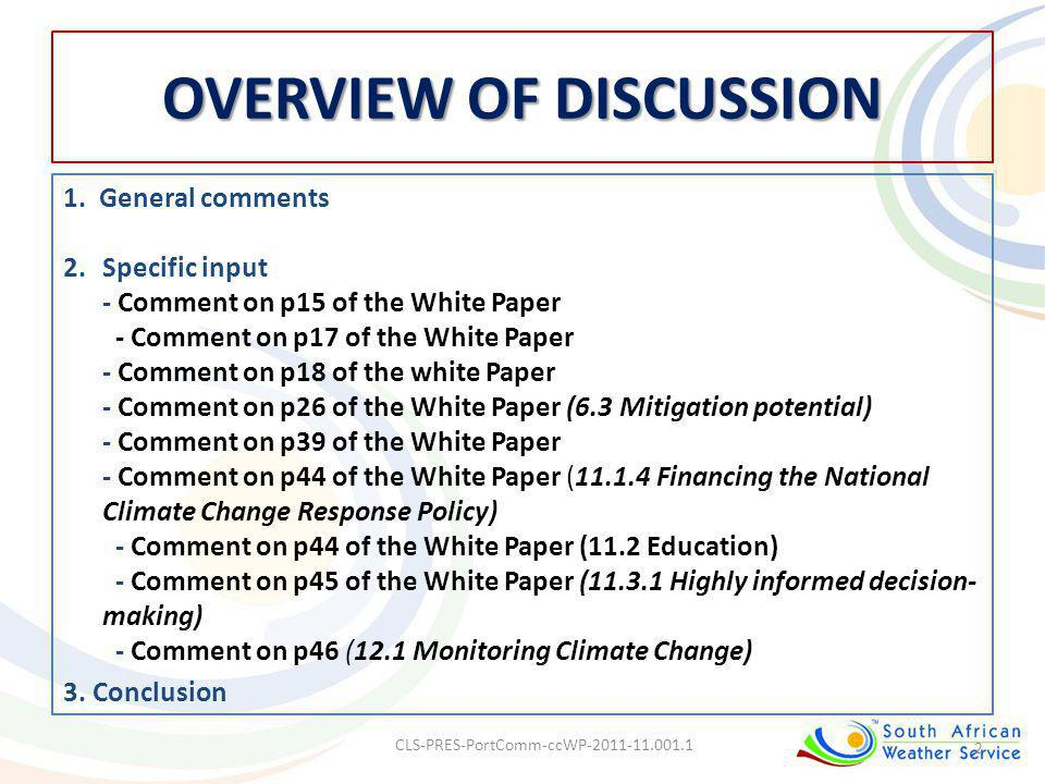 OVERVIEW OF DISCUSSION