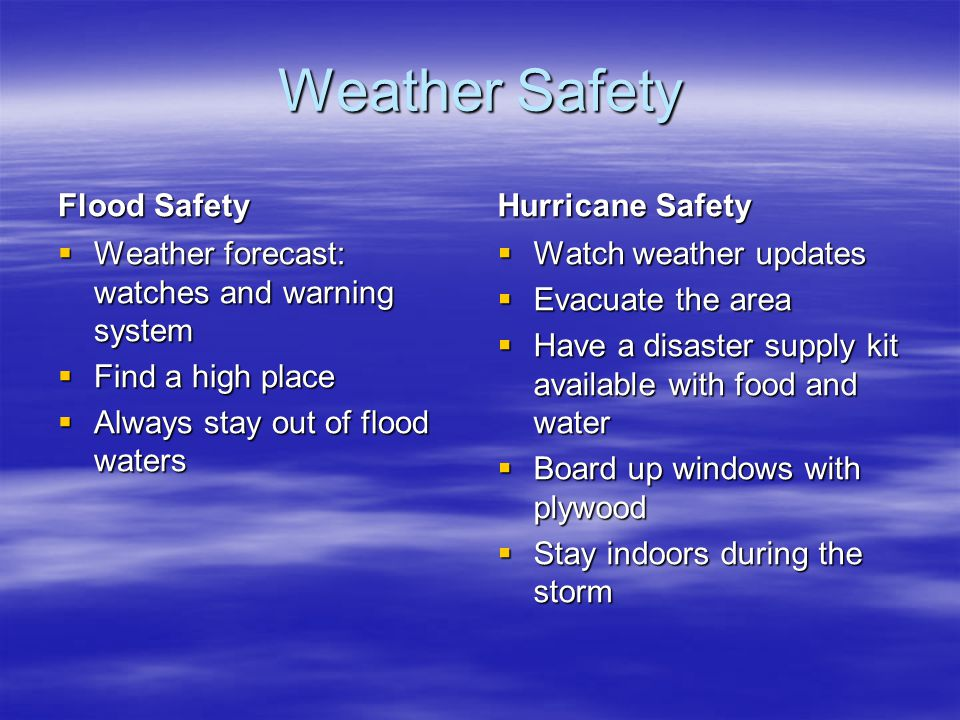 Weather Safety Flood Safety Hurricane Safety