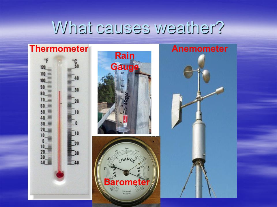 What causes weather Thermometer Anemometer Rain Gauge Barometer