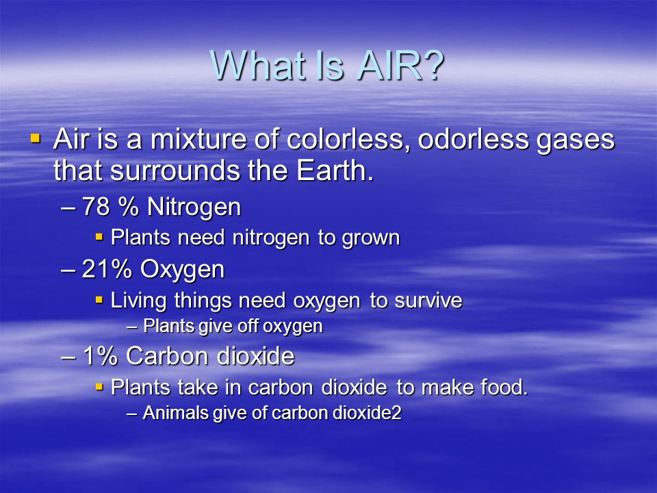 What Is AIR Air is a mixture of colorless, odorless gases that surrounds the Earth. 78 % Nitrogen.