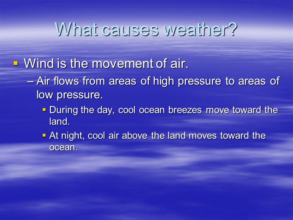 What causes weather Wind is the movement of air.