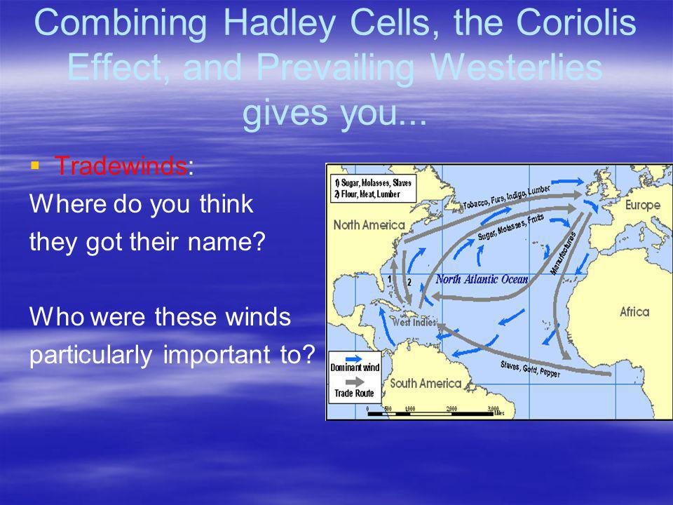 Combining Hadley Cells, the Coriolis Effect, and Prevailing Westerlies gives you...