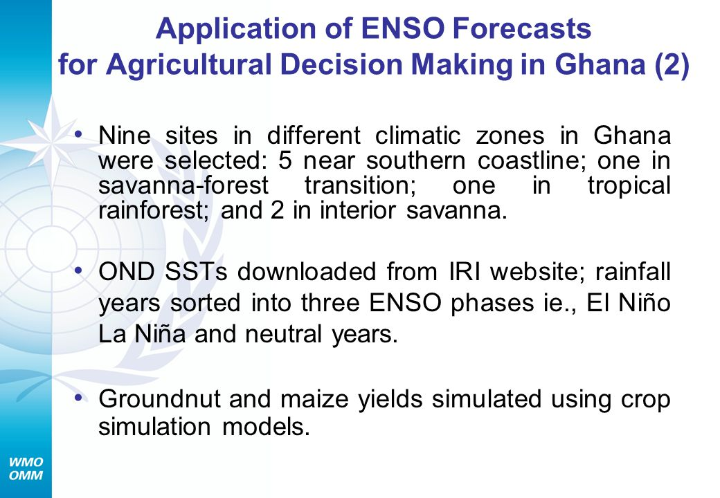 Application of ENSO Forecasts for Agricultural Decision Making in Ghana (2)