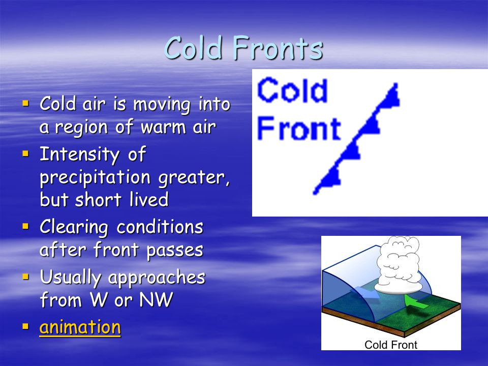 Cold Fronts Cold air is moving into a region of warm air