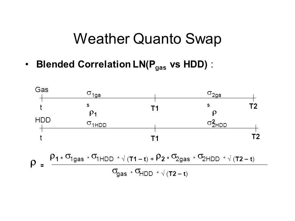 Weather Quanto Swap  = T1 T2 Blended Correlation LN(Pgas vs HDD) :